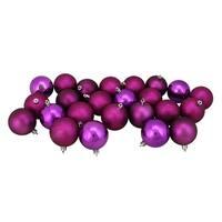 "24ct Magenta Pink Shatterproof 4-Finish Christmas Ball Ornaments 2.5"" (60mm) - Purple"
