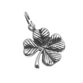Sterling Silver Charm Lucky 4-Leaf Clover Shamrock Irish 12mm