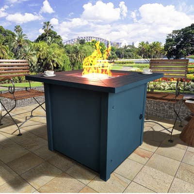 Laguna Black Metal Square Fire Pit Table with Glass Rocks