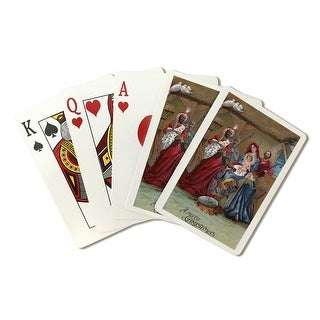 A Merry Christmas - Nativity Scene - Vintage Holiday Art (Playing Card Deck - 52 Card Poker Size with Jokers)