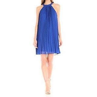 Betsey Johnson NEW Blue Womens Size 12 Pleated Chiffon Shift Dress