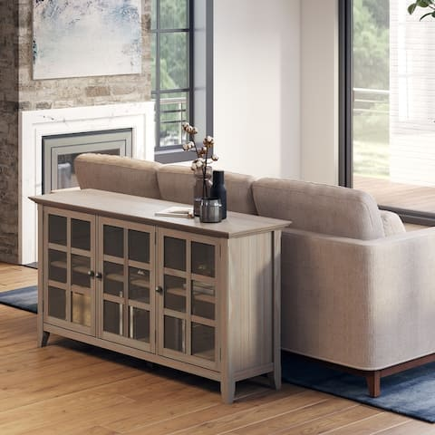 """WYNDENHALL Normandy SOLID WOOD 62 inch Wide Transitional Wide Storage Cabinet - 62""""w x 18""""d x 34"""" h"""