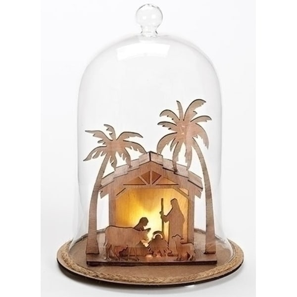 "9"" LED Lighted Laser Cut Out 3D Nativity Stable Cloche"