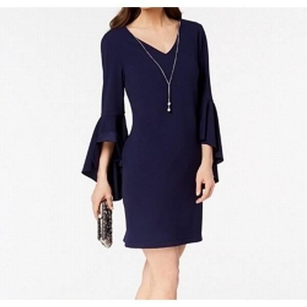 MSK Blue Womens Size 12 V-Neck Bell-Sleeve Solid Sheath Dress