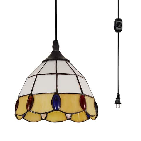 Simplicity Tiffany glass on/off dimmer switch plug in pendant light with yellow and white finish