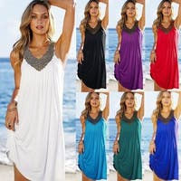 V neck beaded Beach Dress in 7 Colors