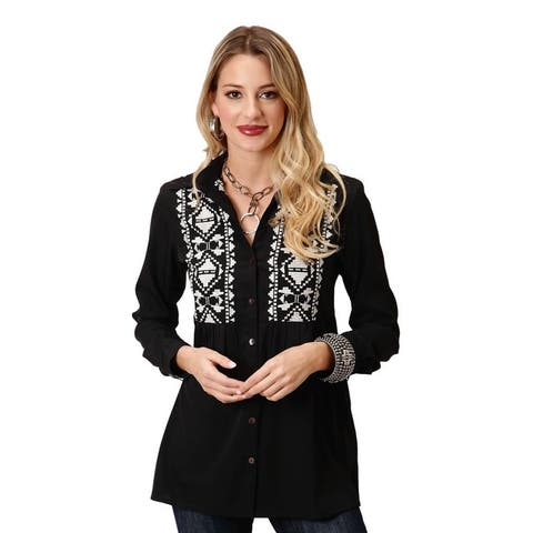 Roper Western Shirt Women L/S Solid Tunic Black