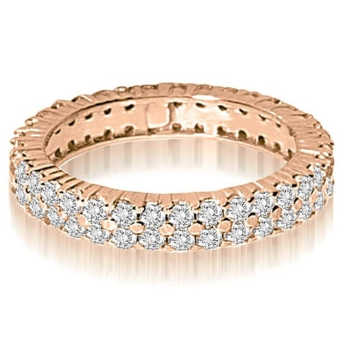 2.50 cttw. 14K Rose Gold Round Two Row Prong Diamond Eternity Ring