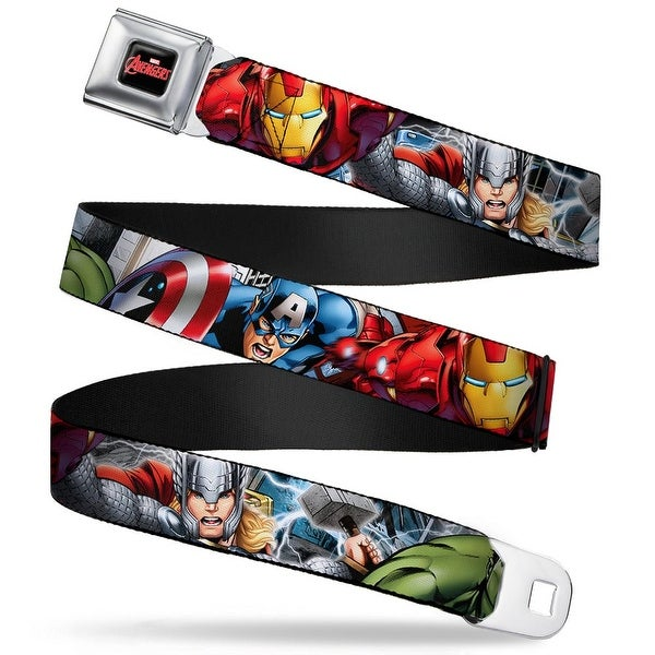 Marvel Avengers Marvel Avengers Logo Full Color Black Red White Marvel Seatbelt Belt