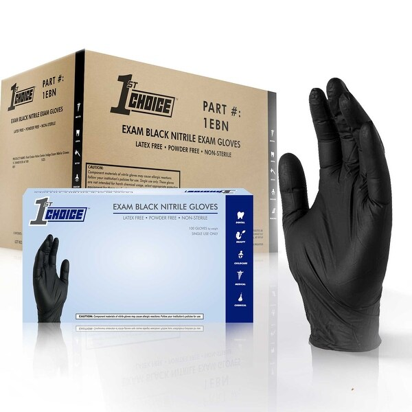 1st Choice Black Nitrile Exam Latex Free Disposable Gloves