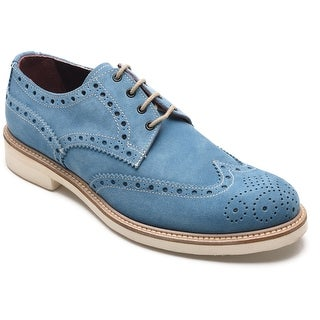 Alexander Men's Jargo Suede Leather Brogue Oxfords Shoes Charm Blue