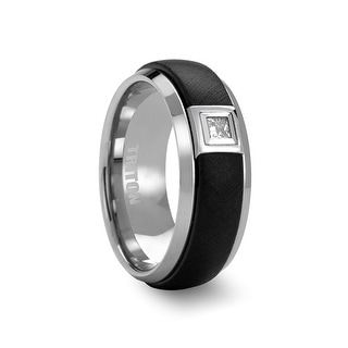 AIKEN Tungsten Ring with Black Center and .17 ct Square Diamond Setting by Triton Rings - 8mm