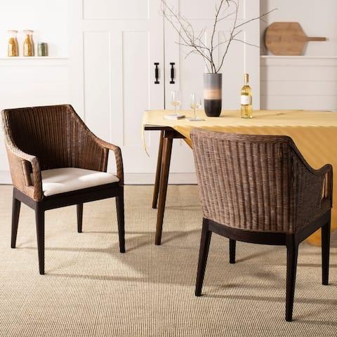 """SAFAVIEH Rural Woven Dining Enrico Multi/ Brown Arm Chair - 23"""" x 23.3"""" x 34"""""""