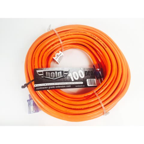 Bold 100' 12/3 AWG SJTW Contractor Grade Lighted Extension Cord, Orange