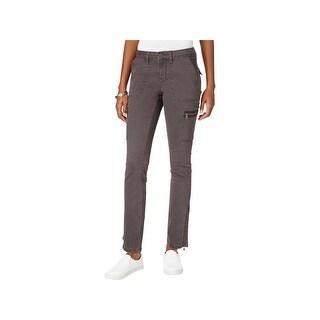 Earl Jean Womens Cargo Pants Zipper Pockets Flap Pockets