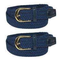CTM® Women's Elastic Braided Stretch Belt (Pack of 2)