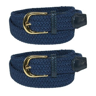 CTM® Women's Elastic Braided Stretch Belt (Pack of 2)