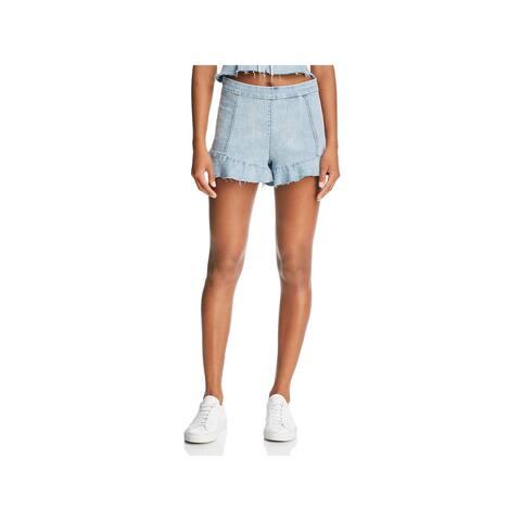 Blank NYC Womens Denim Shorts High Rise Ruffled