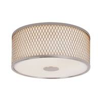 Trans Globe Lighting 10140 2-Light Round Flush Mount Ceiling Fixture with Frosted Shade and Diamond Frame - Polished chrome