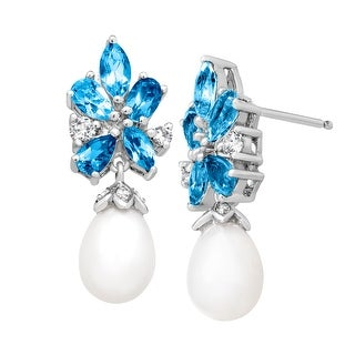 2 1/4 ct Natural Swiss, White, Sky Blue Topaz and 10x8 mm Freshwater Pearl Drop Earrings in Sterling Silver
