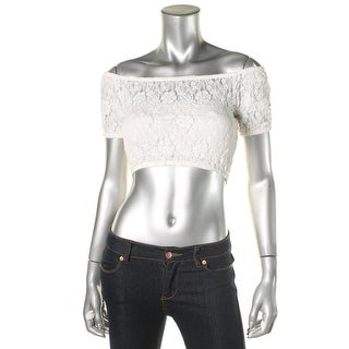 French Connection Womens Sheer Lace Crop Top - S