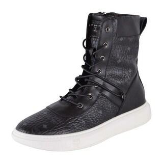 MCM Men's Black Diamond Visetos Side Zip Ankle Boots Sneakers Shoes 11