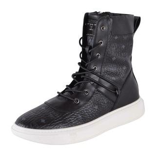 MCM Women's Black Diamond Visetos Canvas Ankle Boots Sneakers Shoes 8 38