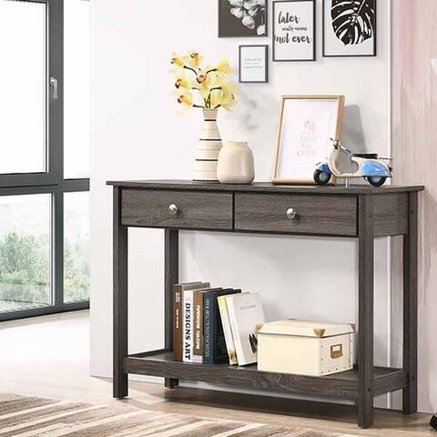 Furniture of America Aranda Rustic Grey 2-drawer Sofa Table