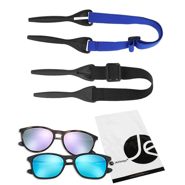 JAVOedge 2 Pack of Elastic Adjustable Outdoor Sunglass Eyeglass Strap for Sports, Beach, Etc. (Black and Blue) - black, blue