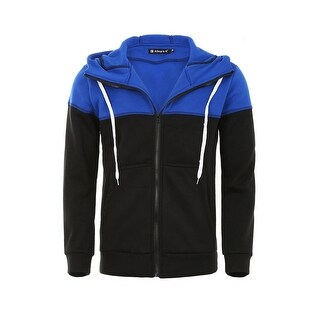 Men Color Block Drawstring Kangaroo Pocket Front Zip Hoodie Jacket