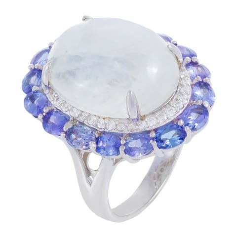 Moonstone & Tanzanite Oval-Cut Floral Style Ring, Sterling Silver