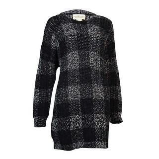 Denim & Supply Women's Crewneck Wool Plaid Sweater (S, Black/Cream) - Black/Cream - s