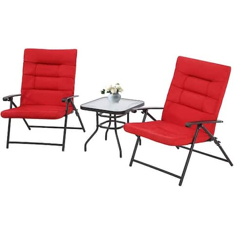 SUNCROWN 3 Piece Outdoor Patio Folding Chairs