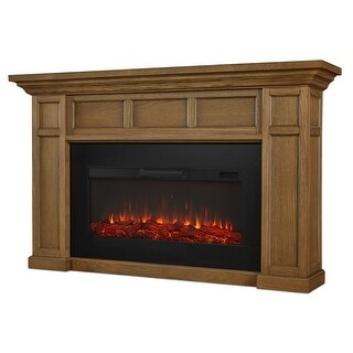 """Real Flame 4130E  Alcott 5000 BTU / 1500W 75"""" Wide Free Standing Vent-Free Electric Mantel Fireplace with Remote Control"""