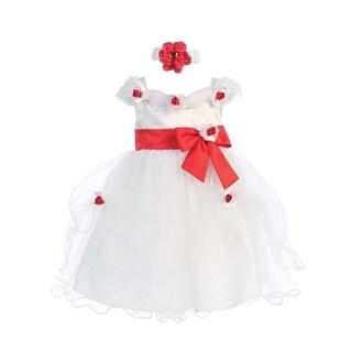 Baby Girls White Red Flower Bow Tulle Neckband Easter Flower Girl Dress 6-24M