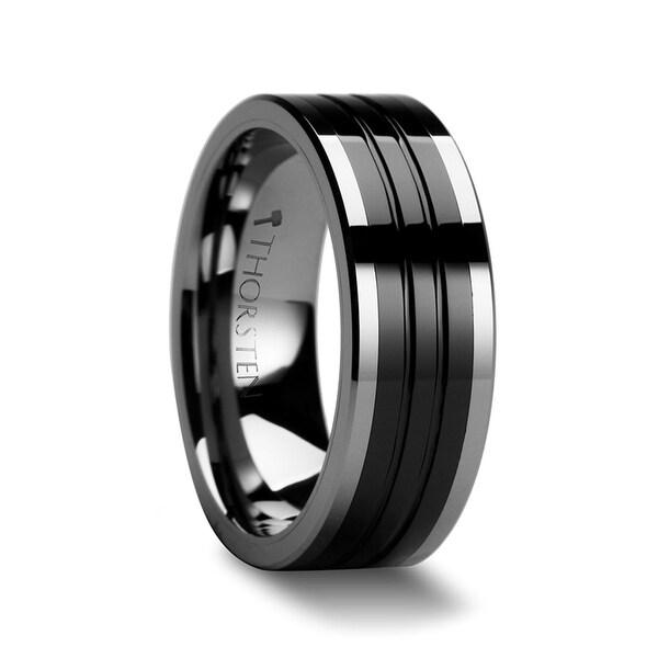 THORSTEN - EDINBURGH Flat Grooved Tungsten Ring with Ceramic Inlay