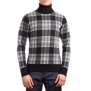Moncler Men's Virgin Wool Plaid Turtleneck Sweater Black