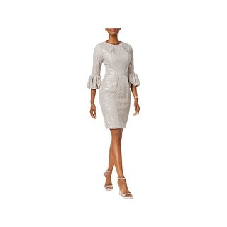 Betsy & Adam Womens Cocktail Dress Lace Bell Sleeve