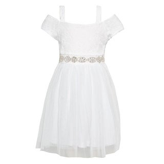 Girls White Sparkle Bejeweled Waist Off-Shoulder Easter Dress