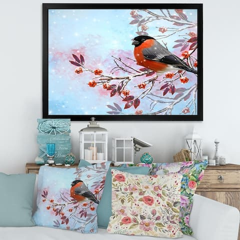Designart 'Two Bright Bird Bullfinch Bird Sitting on A Branch' Traditional Framed Art Print