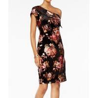 ECI Black Women's Size 8 Velvet One-Shoulder Floral Sheath Dress