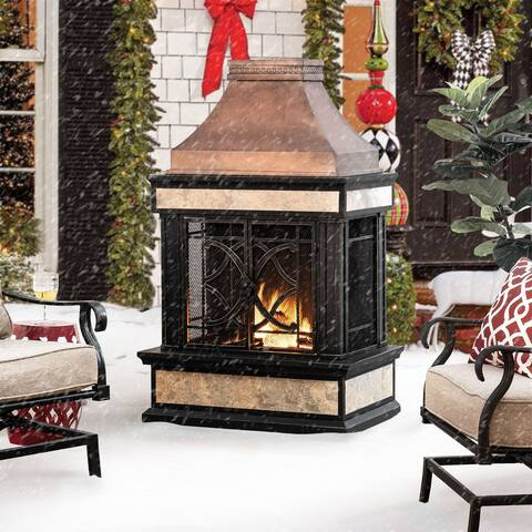 Sunjoy Heirloom Slate Wood-burning Fireplace