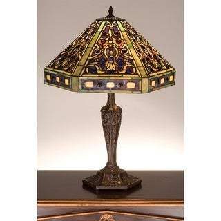 Meyda Tiffany 48832 Stained Glass / Tiffany Table Lamp from the Gentian Elizabethan Collection - mahogany bronze