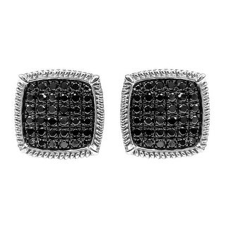 Prism Jewel 1.00Ct Black Diamond Cluster Earring With Screw Back