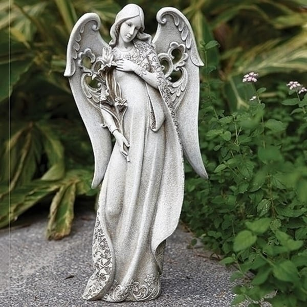 "18.25"" Gray Guardian Angel Holding Lilies Outdoor Decorative Garden Statue"