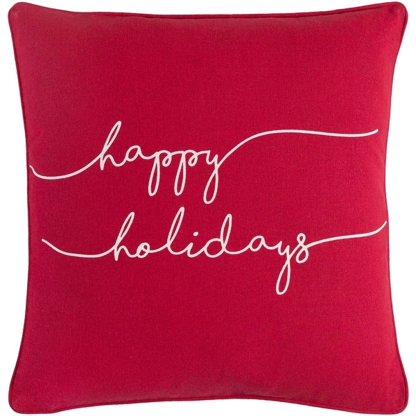 """18"""" Red and White Decorative Design Woven Square Throw Pillow - Down Filler"""