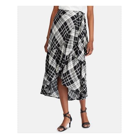 RALPH LAUREN Womens Black Plaid Faux Wrap Skirt Size 12