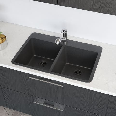 R3-2002 Topmount Granite Quartz Kitchen Sink with Two Grids and Two Matching Colored Strainers