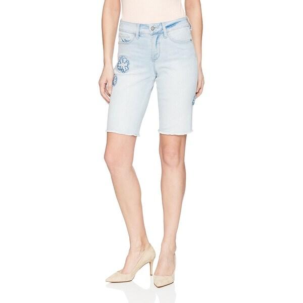 NYDJ Blue Women's Size 16 Embroidered Bermuda Walking Shorts