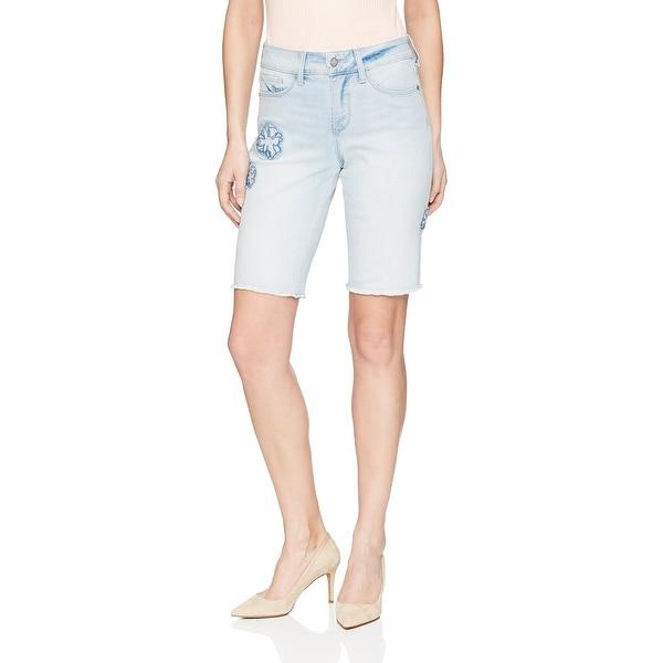 NYDJ Blue Womens Size 10 Embroidered Denim Bermuda Stretch Shorts